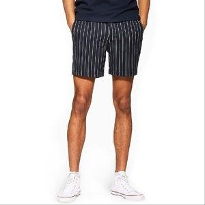 Topman Blue Pinstripe Pull on Shorts Classic Fit